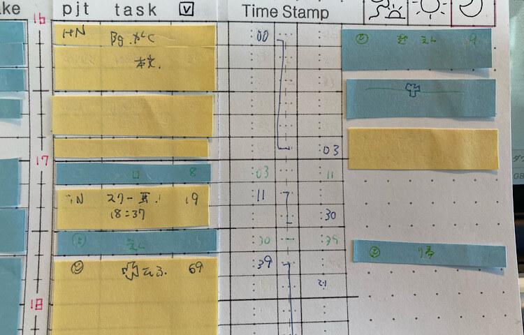 付箋を使ったバーチカル手帳