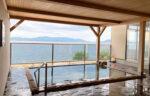 玉造国際ホテルの露天風呂。宍道湖が一望できます