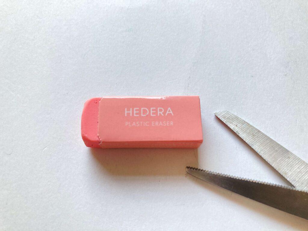 HEDERA-ヘデラ-PLASTIC-ERASER-SPAH52-CP-TSUTAYAの消しゴム写真。ピンク色。